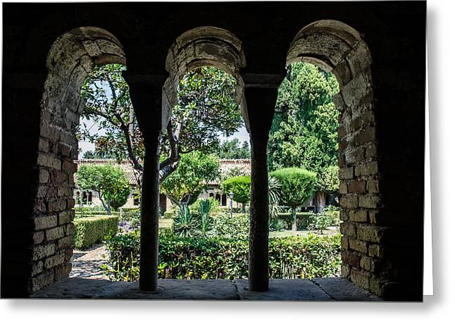 The Ancient Cloister Greeting Card by Andrea Mazzocchetti