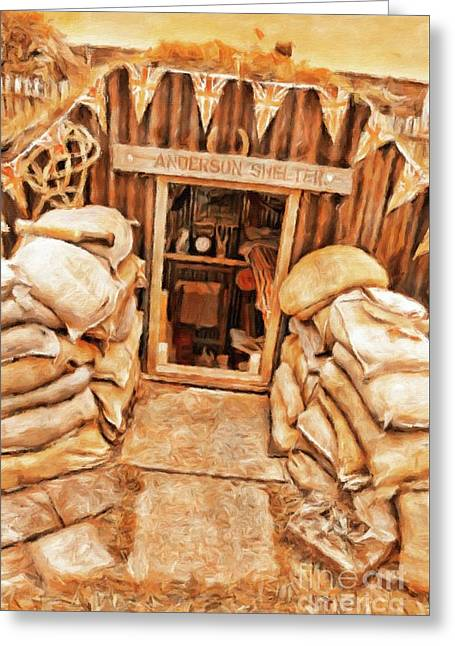 The Anderson Shelter By Sarah Kirk Greeting Card