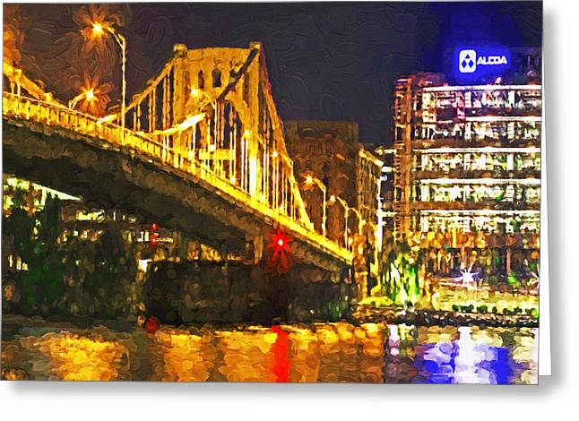Greeting Card featuring the digital art The Andy Warhol Bridge 1 by Digital Photographic Arts