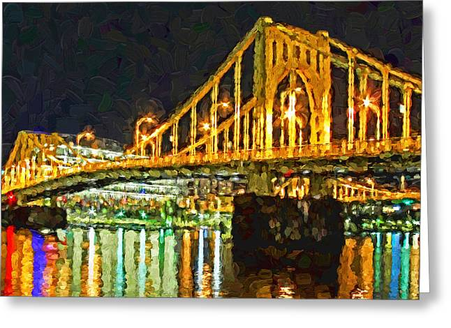 Greeting Card featuring the digital art The Andy Warhol Bridge 2 by Digital Photographic Arts