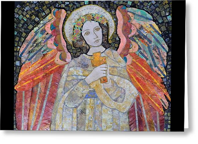 The Angel And The Cross Greeting Card by Carol Cole