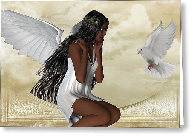 The Angel And The Dove Greeting Card by Kerry Rockwood White