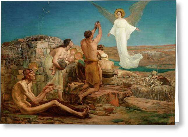 The Angel Appearing Before The Shepherds Greeting Card by MotionAge Designs
