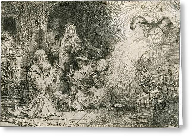 The Angel Departing From The Family Of Tobias Greeting Card by Rembrandt