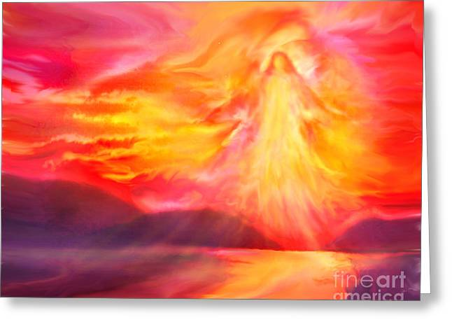 The Angel Of Protection Greeting Card by Glenyss Bourne