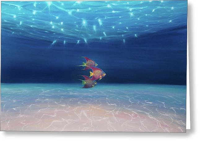 The Angel Queens Ride Out - A Large Underwater Seascape Greeting Card by Gill Bustamante