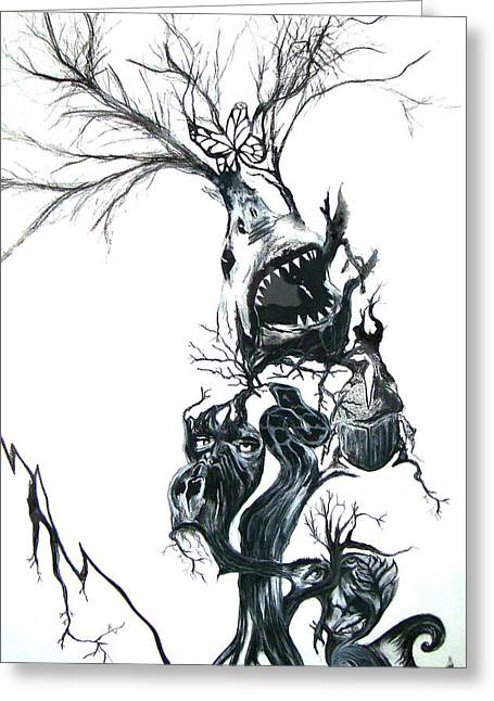 White Shark Mixed Media Greeting Cards - The Animal Tree Greeting Card by Daniel Schler