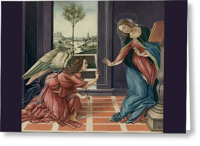 The Annunciation After Botticelli Greeting Card by Yvonne Wright