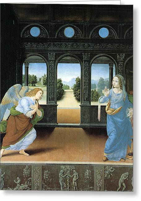 The Annunciation By Di Credi Greeting Card by Lorenzo Di Credi