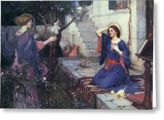 The Annunciation Greeting Card by John William Waterhouse