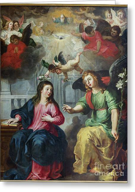 The Annunciation Painting By Hendrick Van Balen Greeting Card