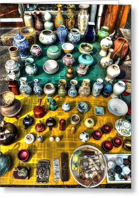 The Antique Market Greeting Card by Michael Garyet