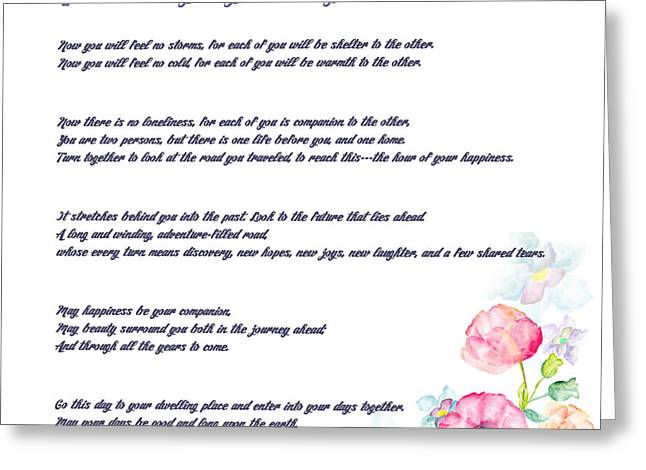 The Apache Wedding Blessing - Long Version Greeting Card by Celestial Images