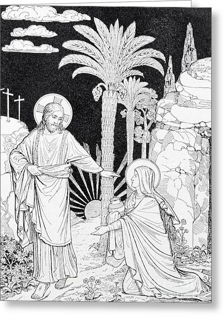 The Apparition Of The Lord To Mary Of Magdalen Lithography Greeting Card by Jozef Sedmak