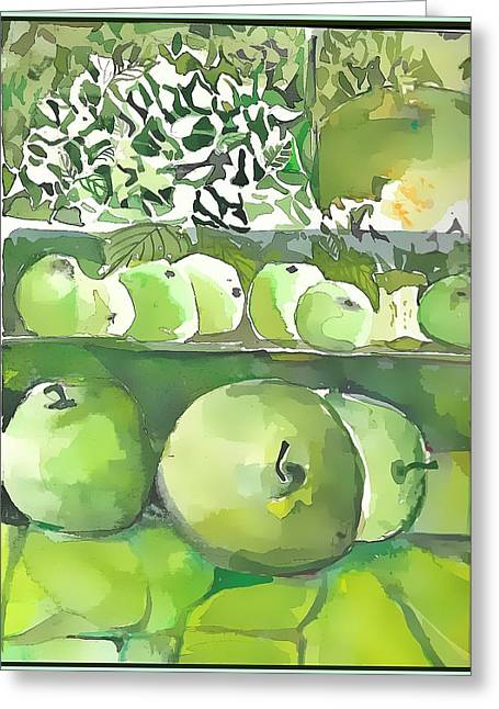 Greeting Card featuring the painting The Apple Closet by Mindy Newman