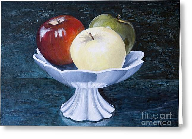 The Apple Dish Greeting Card by Dinny Madill