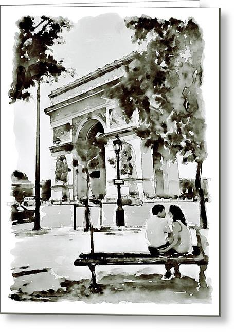 The Arc De Triomphe Paris Black And White Greeting Card by Marian Voicu