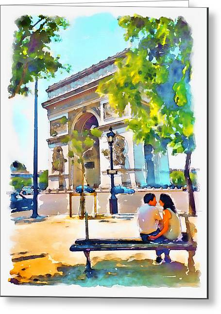 The Arc De Triomphe Paris Greeting Card by Marian Voicu