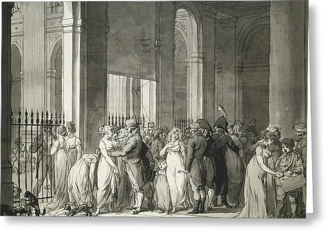 The Arcades At The Palais Royal Greeting Card by Louis Leopold Boilly