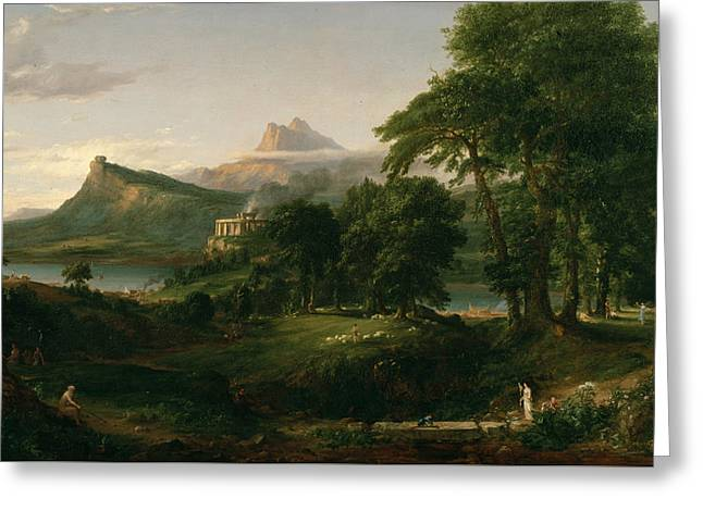 The Arcadian Or Pastoral State Greeting Card by Thomas Cole