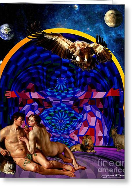 The Archangel Night Greeting Card by Art Gallery