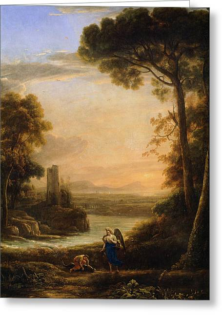 The Archangel Raphael And Tobias Greeting Card by Claude Lorrain