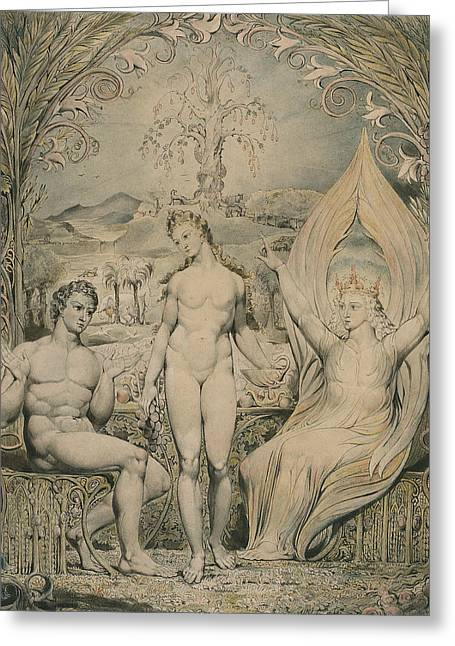 The Archangel Raphael With Adam And Eve  Greeting Card by William Blake