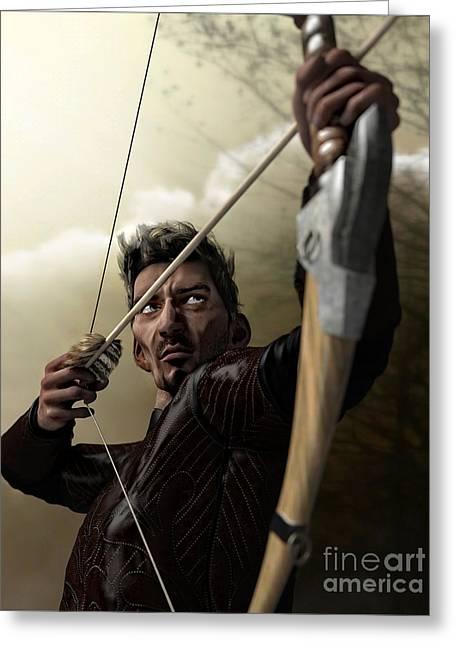 Greeting Card featuring the digital art The Archer by Sandra Bauser Digital Art