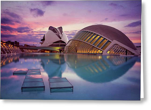 The Architecture Of Modern Valencia Spain  Greeting Card by Carol Japp