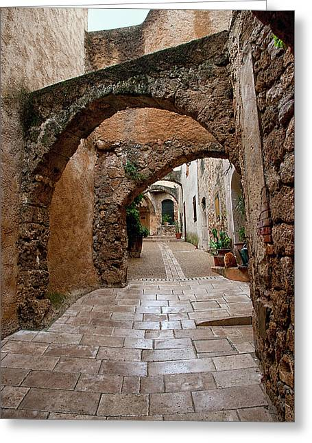 The Archways Of Villecroz Greeting Card by Jacqi Elmslie