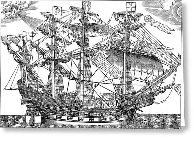 The Ark Raleigh, The Flagship Of The English Fleet Greeting Card