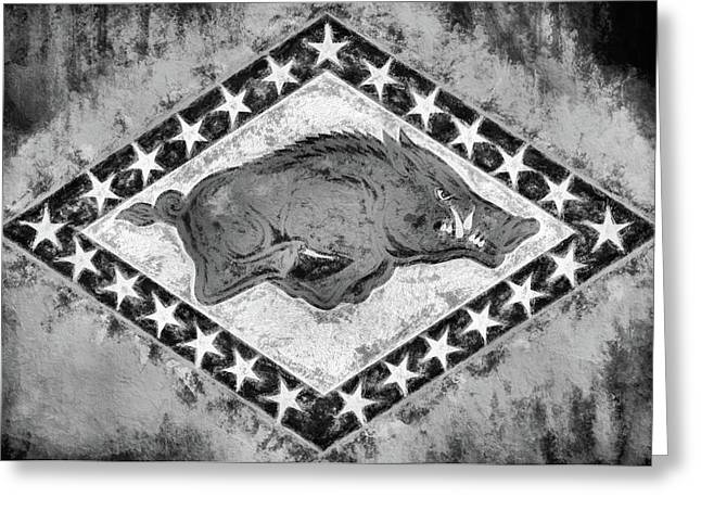 The Arkansas Razorbacks Black And White Greeting Card by JC Findley