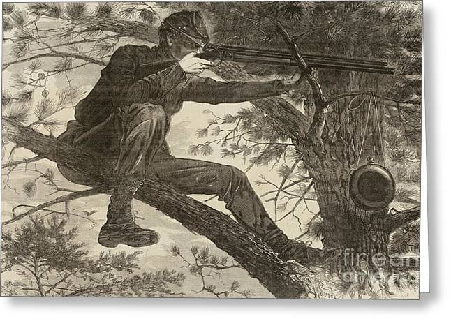 The Army Of The Potomac  A Sharpshooter Greeting Card by Winslow Homer