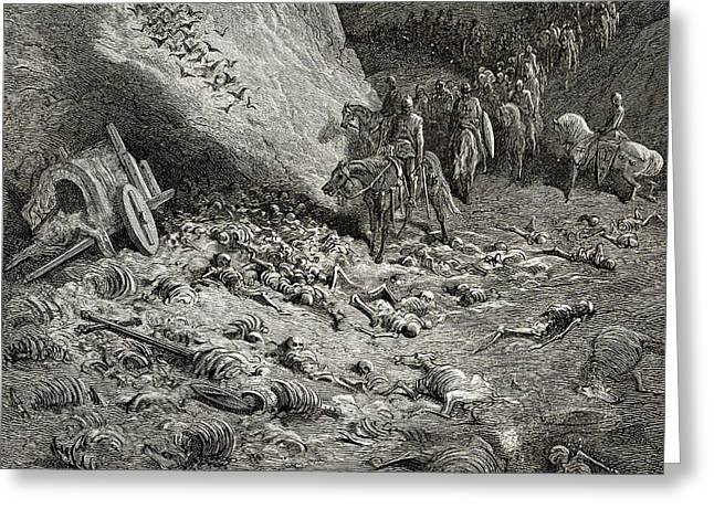 The Army Of The Second Crusade Find The Remains Of The Soldiers Of The First Crusade Greeting Card by Gustave Dore