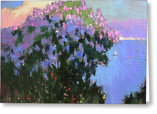 Greeting Card featuring the painting The Aroma Of Wandering by Anastasija Kraineva