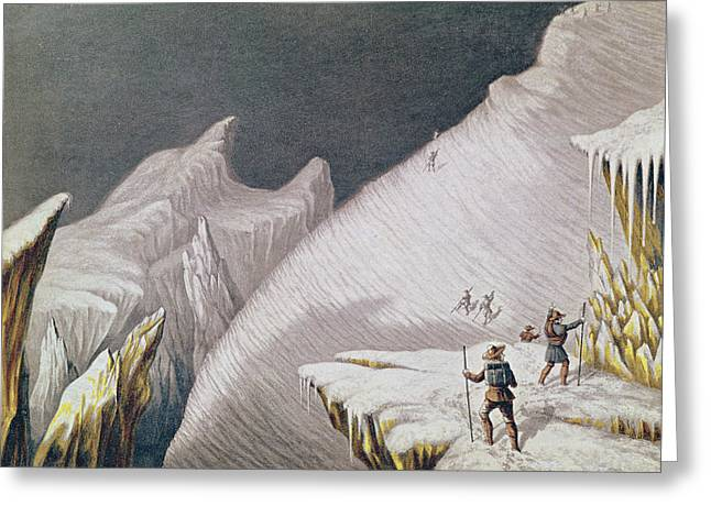 The Arrival At The Summit  The Ascent Of Mont Blanc  Greeting Card by George Baxter