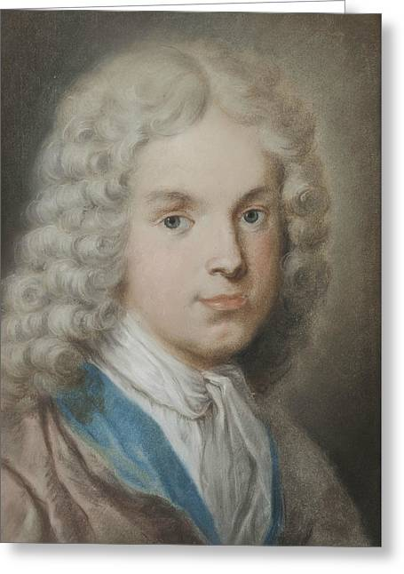 The Art Collector And Artist Antonio Maria Zanetti The Elder Greeting Card by Rosalba Carriera