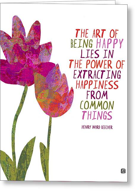 Greeting Card featuring the painting The Art Of Being Happy by Lisa Weedn