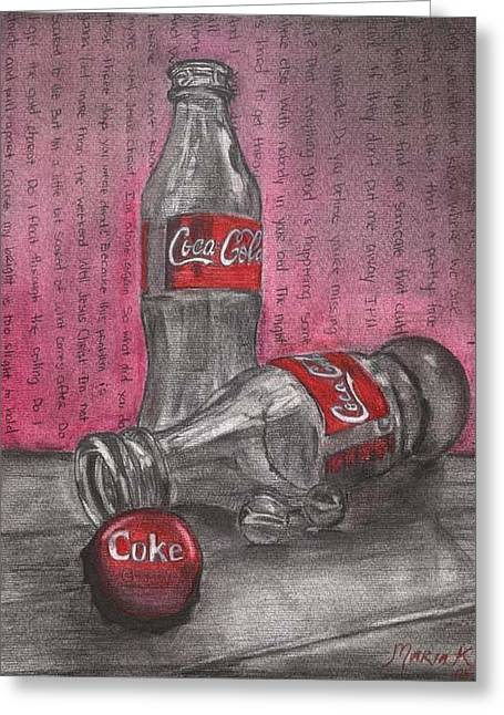 The Art Of Coca Cola Greeting Card by Maria Kobalyan