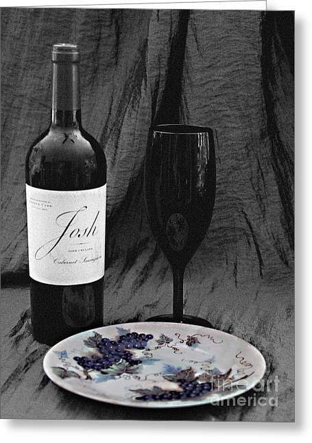 The Art Of Wine And Grapes Greeting Card by Sherry Hallemeier