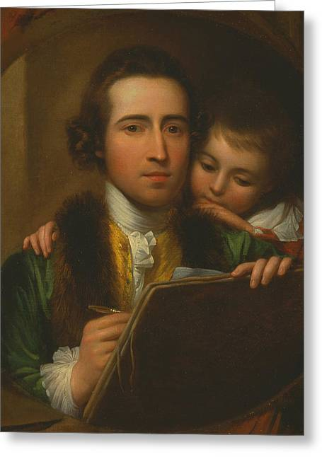 The Artist And His Son Raphael Greeting Card by Benjamin West