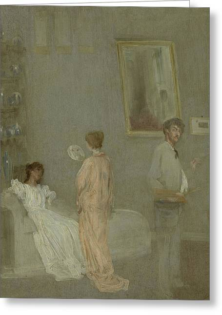 The Artist In His Studio Greeting Card by James Abbott McNeill Whistler