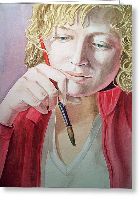 Self Portrait Paintings Greeting Cards - The Artist Greeting Card by Irina Sztukowski