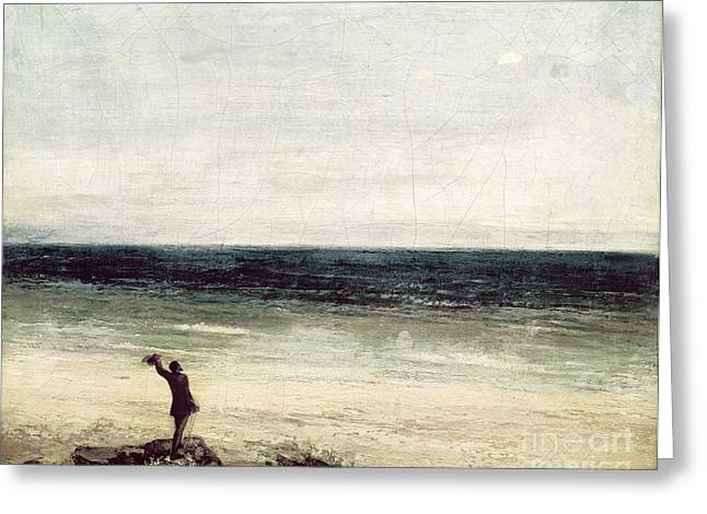 Gustave 1819-77 Greeting Cards - The Artist on the Seashore at Palavas Greeting Card by Gustave Courbet