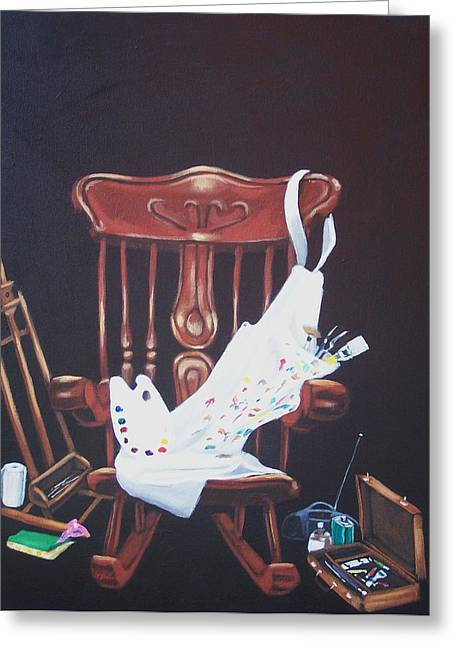 Susan Roberts Greeting Cards - The  Artist Greeting Card by Susan Roberts