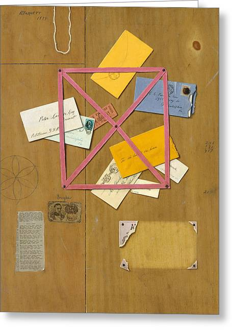 The Artist's Letter Rack Greeting Card by William Michael Harnett