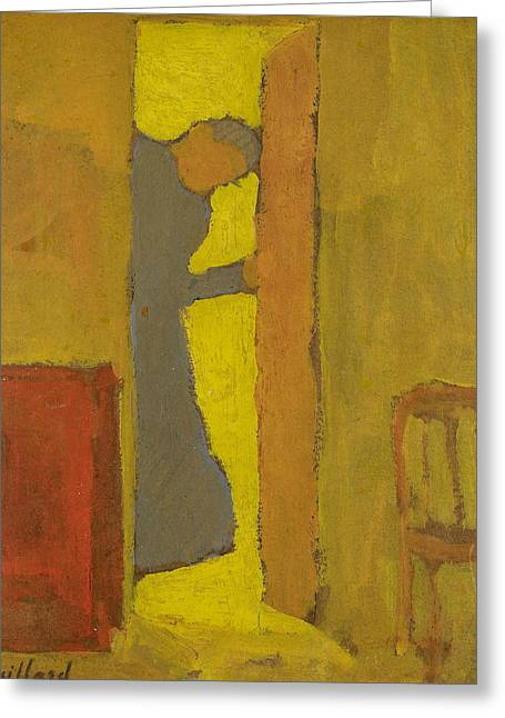 The Artist's Mother Opening A Door Greeting Card