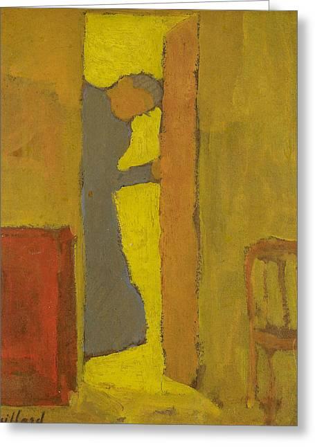 The Artist's Mother Opening A Door Greeting Card by Edouard Vuillard