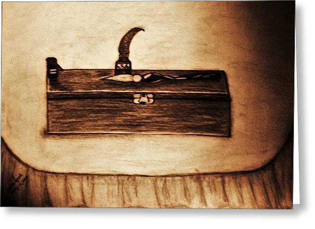 The Artists Pencil Box And Ink Well And Pen Greeting Card by Debra Lynch
