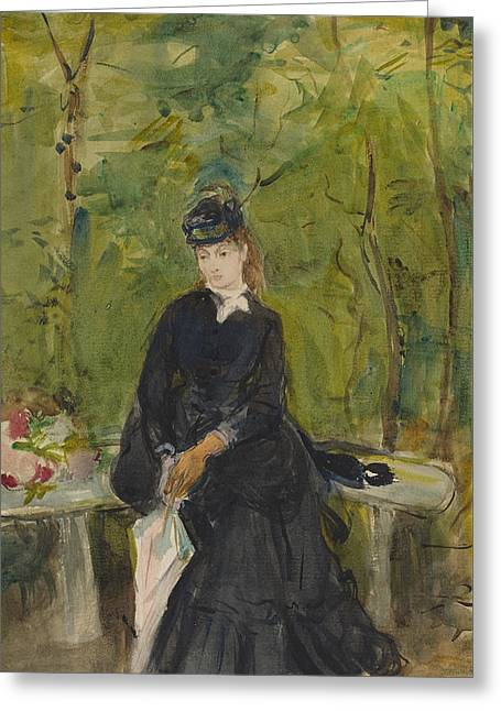 The Artist's Sister Edma Seated In A Park Greeting Card by Berthe Morisot